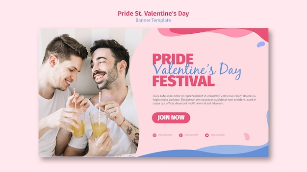 Pride st. valentine's day festival banner with photo Free Psd