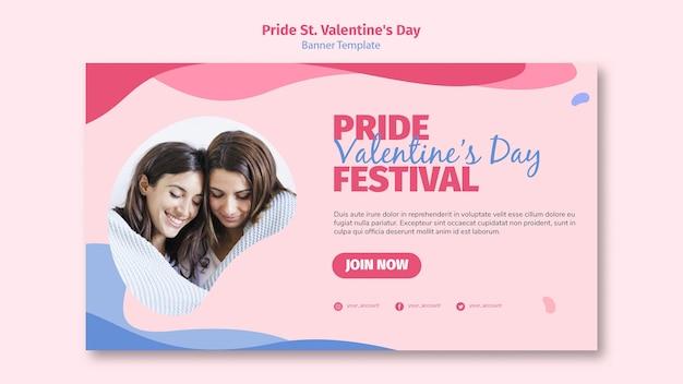 Pride st. valentine's day festival banner Free Psd