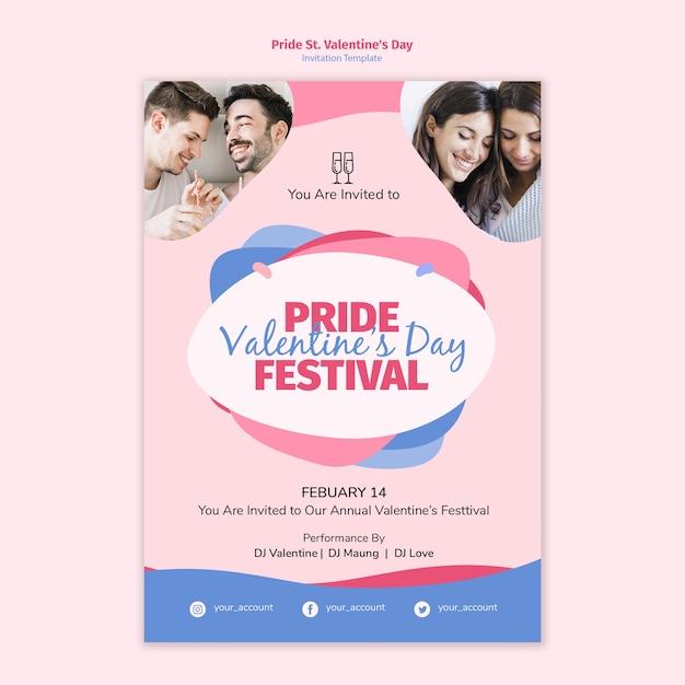 Pride st. valentine's day festival invitation template Free Psd
