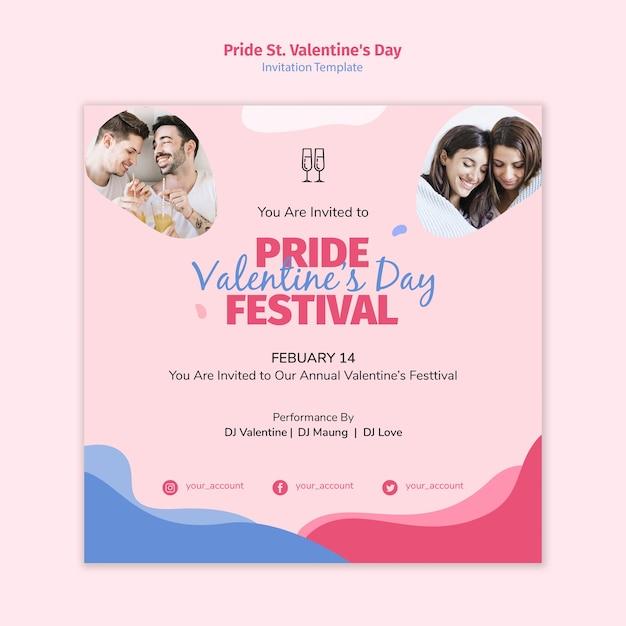 Pride st. valentine's day festival invitation Free Psd