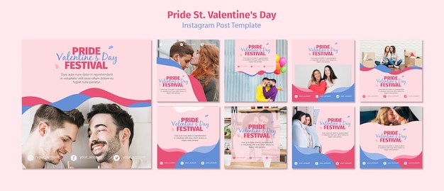 Pride st. valentine's day festival posts template Free Psd