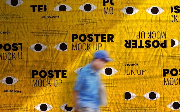 Print advertising poster wall mockup Premium Psd