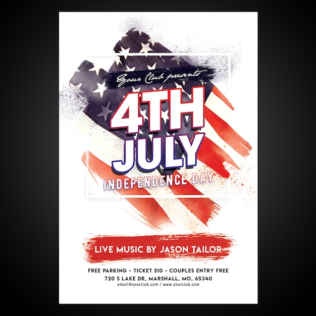 Print ready cmyk 4th of july poster with editable objects Premium Psd