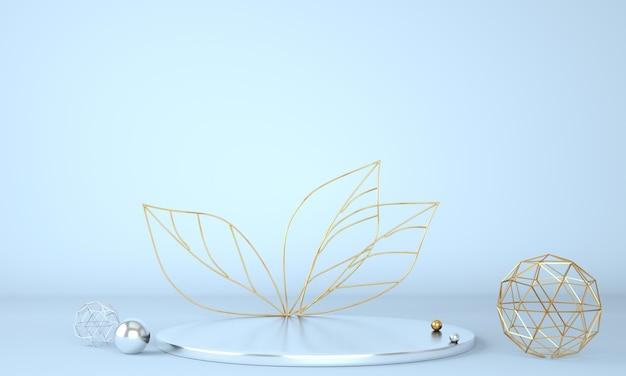 Подиум для демонстрации продуктов, украшенный листьями на пастельном фоне в 3d иллюстрации Premium Psd