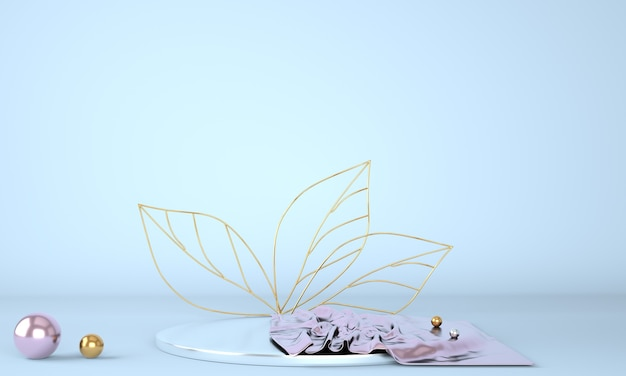 Product display podium decorated with leaves on pastel background Premium Psd
