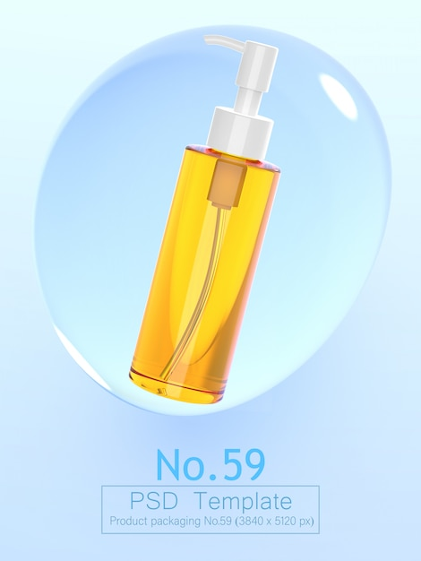 Product and water bubble background template 3d render Premium Psd