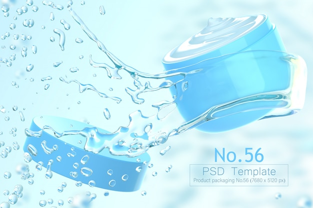 Product and water splash background template 3d render Premium Psd