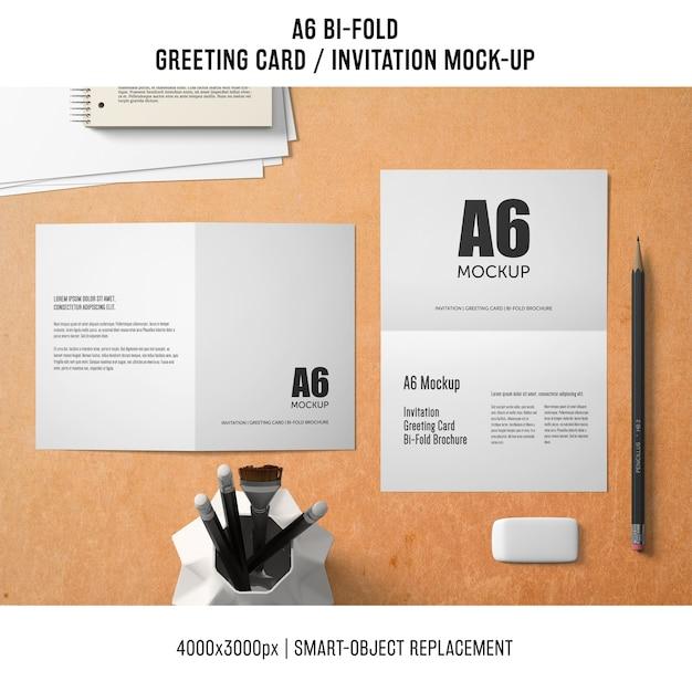 Professional A6 Bi Fold Greeting Card Mockup Free Psd