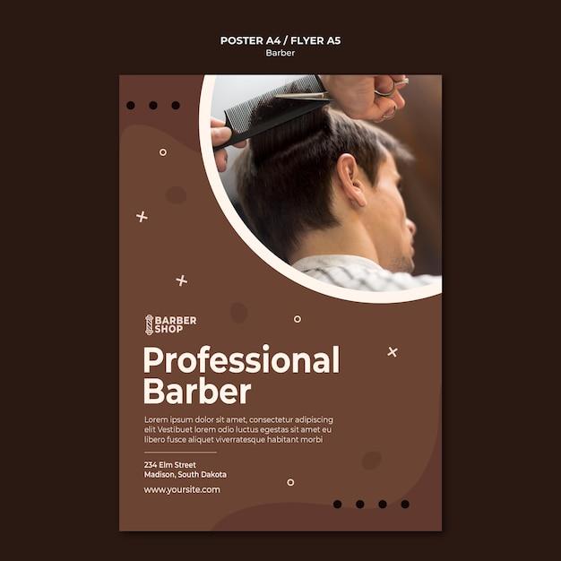 プロの床屋とクライアントのポスターテンプレート 無料 Psd