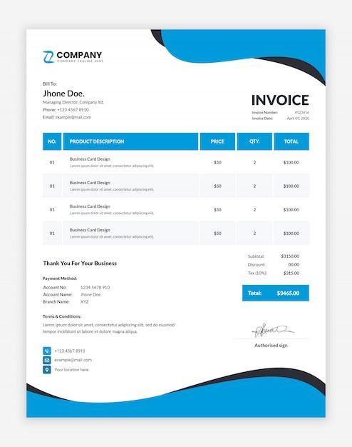 プロのビジネス請求書テンプレート Premium Psd