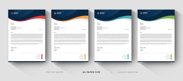 Professional business letterhead templates design with color variation Premium Psd