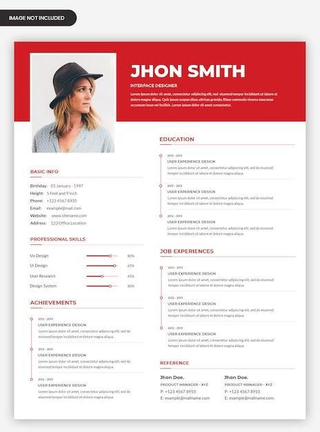 Профессиональный чистый красный резюме дизайн шаблона резюме с фото Premium Psd