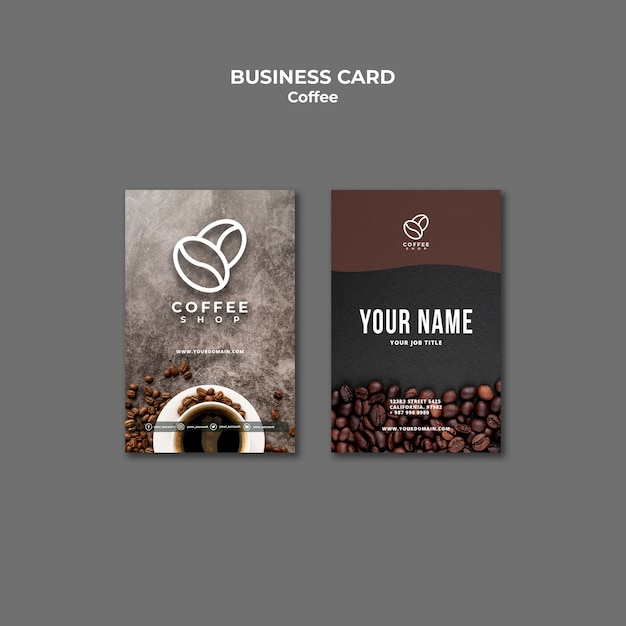 Professional coffee shop business card template Free Psd