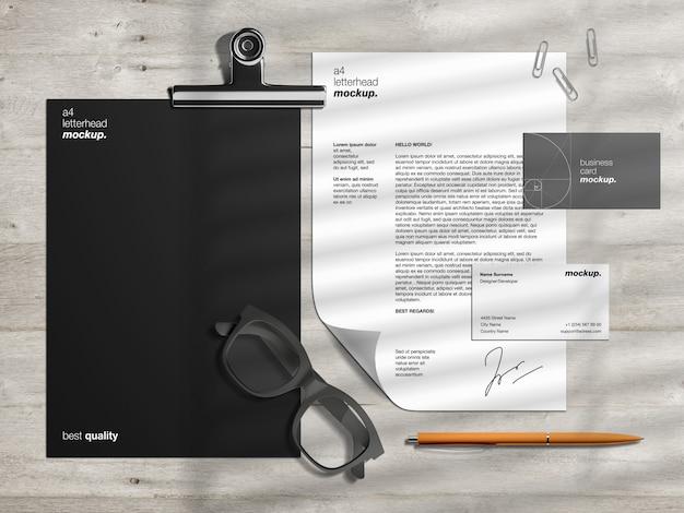レターヘッドと名刺を使用したプロフェッショナルなコーポレートビジネスid文房具モックアップテンプレートとシーンクリエーター Premium Psd