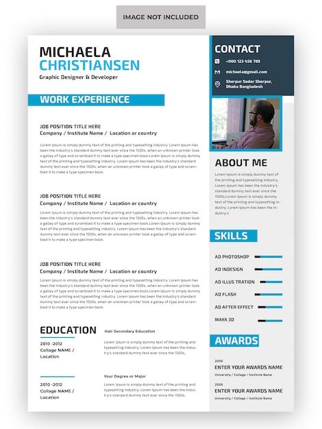 Professional cv resume template   Premium PSD File