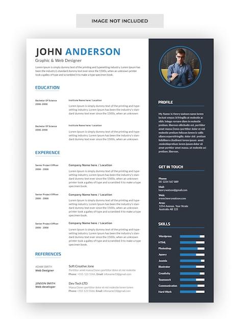 Professional cv resume template Premium Psd