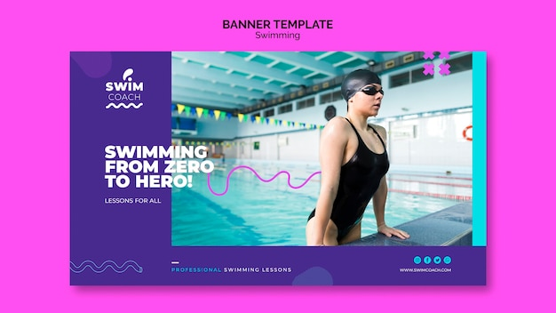 Professional female swimmer banner template Free Psd