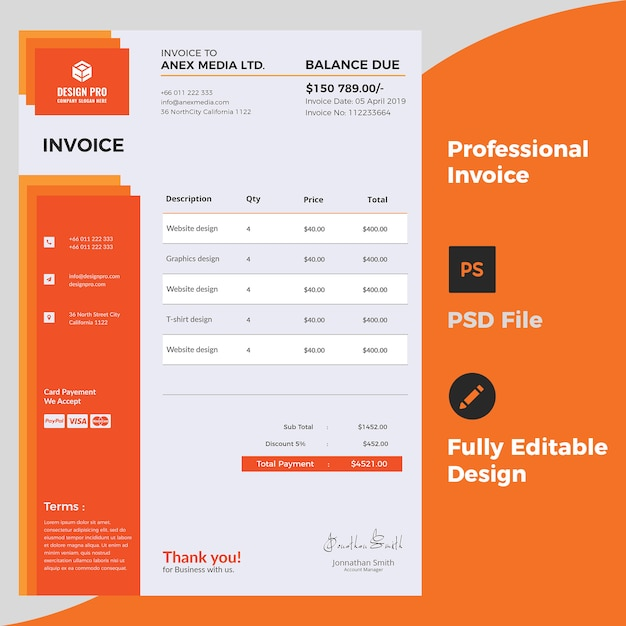 プロの請求書デザイン Premium Psd