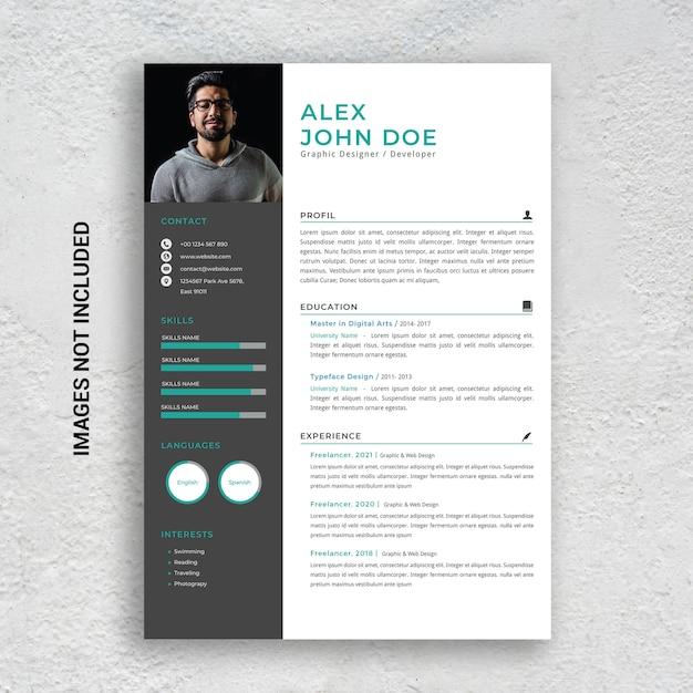 Professional minimalist cv resume template, green and black Premium Psd