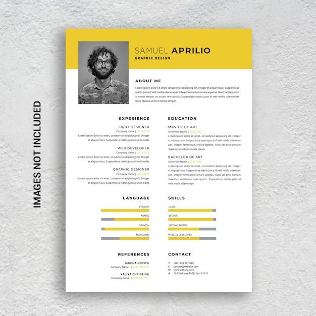 Professional Minimalist Cv Resume Template Yellow And Black