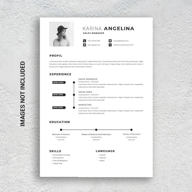 Professional Minimalist Cv Resume Template Premium Psd File