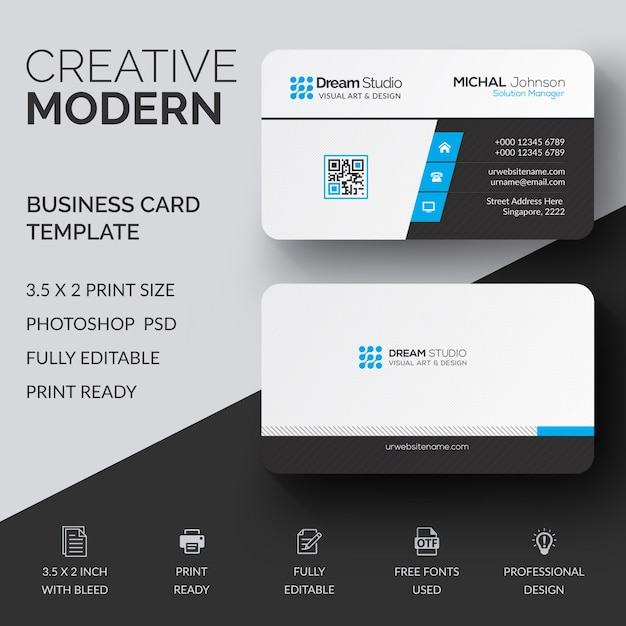 Professional Mockup Of Modern Business Card Psd File Premium Download