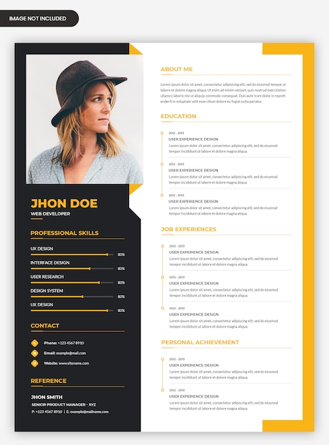 Professional modern abstract cv resume template Premium Psd