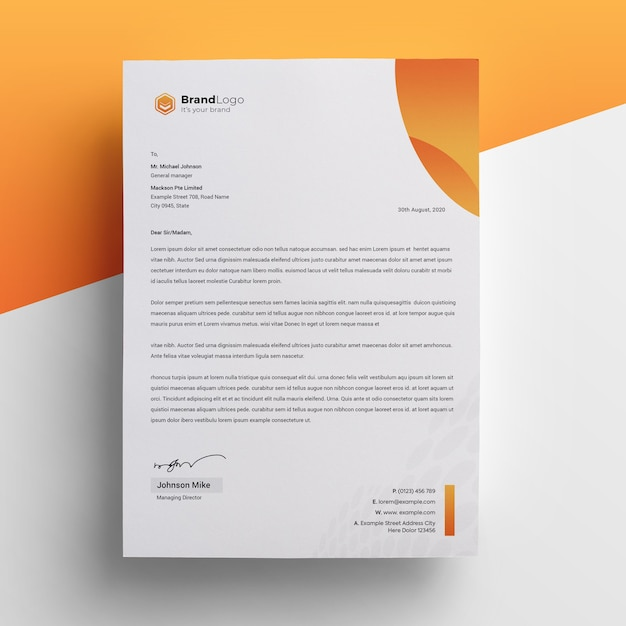 Professional and modern corporate letterhead template Premium Psd