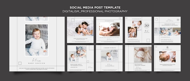 전문 사진 게시물 템플릿 프리미엄 PSD 파일