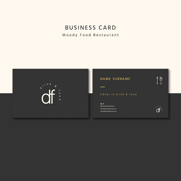 Professional restaurant business card Premium Psd