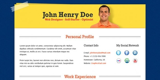 Professional Resume Cv Template Psd Psd File  Free Download