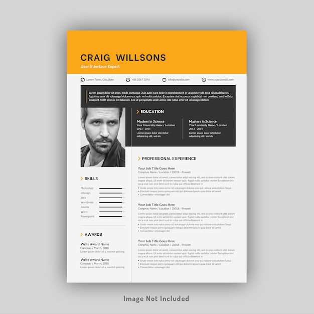 Professional resume or cv template Premium Psd
