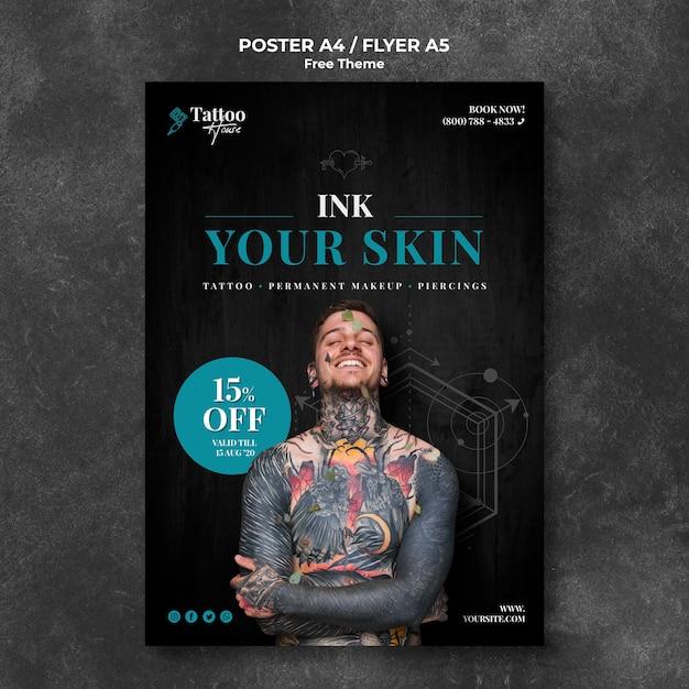 Флаер-студия профессиональной татуировки Бесплатные Psd