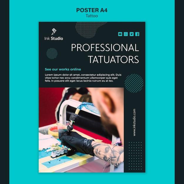 プロのタトゥースタジオポスターテンプレート 無料 Psd