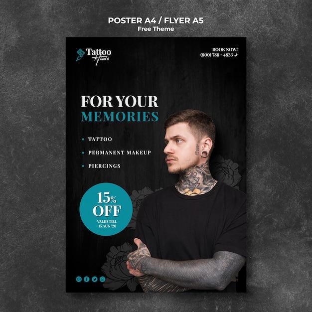 Шаблон плаката студии профессиональной татуировки Бесплатные Psd