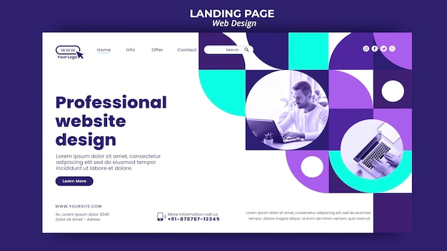 Professional website design landing page template Free Psd