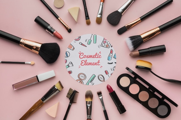 Proffesional makeup tools on table Free Psd