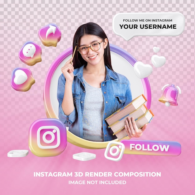 Profile on instagram 3d rendering isolated