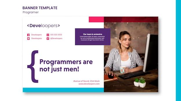 Программист рекламный шаблон баннера Бесплатные Psd