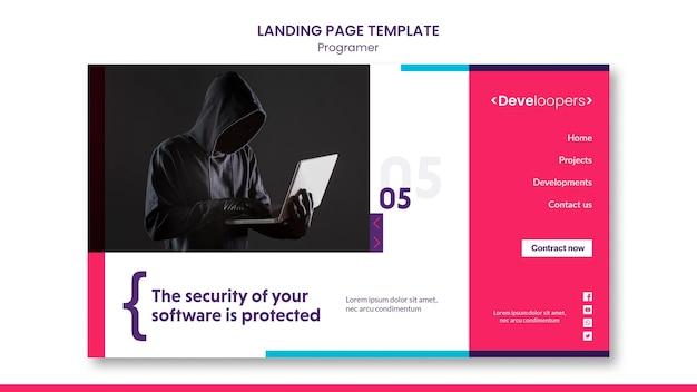 Целевая страница шаблона объявления программиста Бесплатные Psd