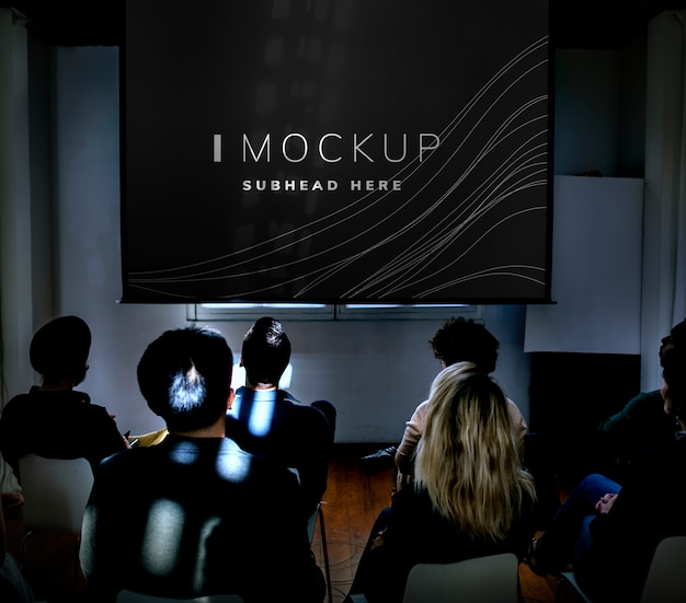 Projector screen mockup in a conference Premium Psd