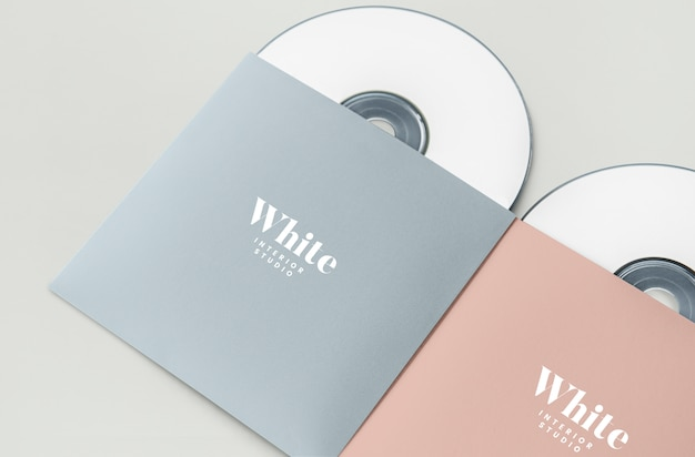Promotional material cd package mockup Free Psd