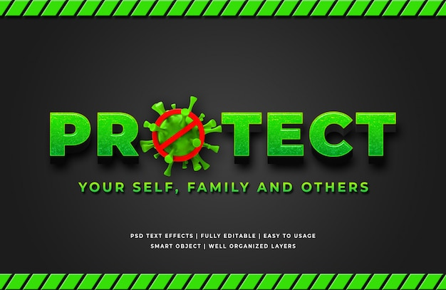 Protect corona virus 3d text style effect Premium Psd