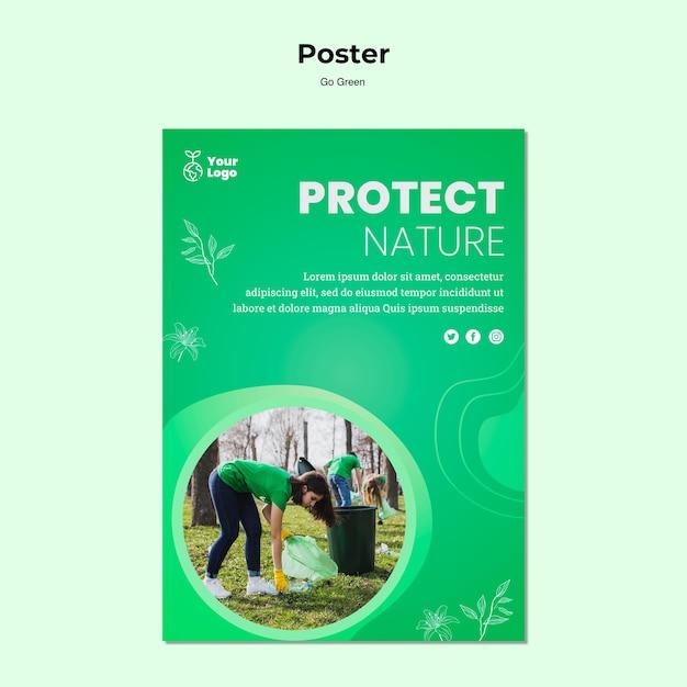 Proteggi il modello di poster della natura Psd Gratuite