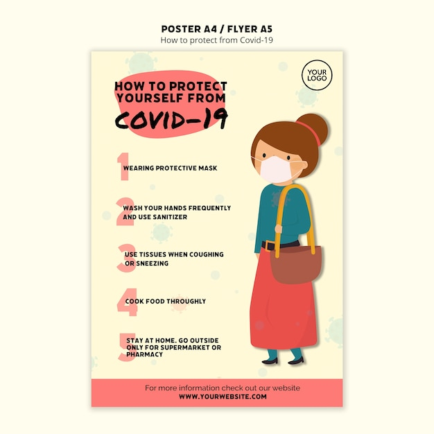 Protect yourself and woman poster template Free Psd