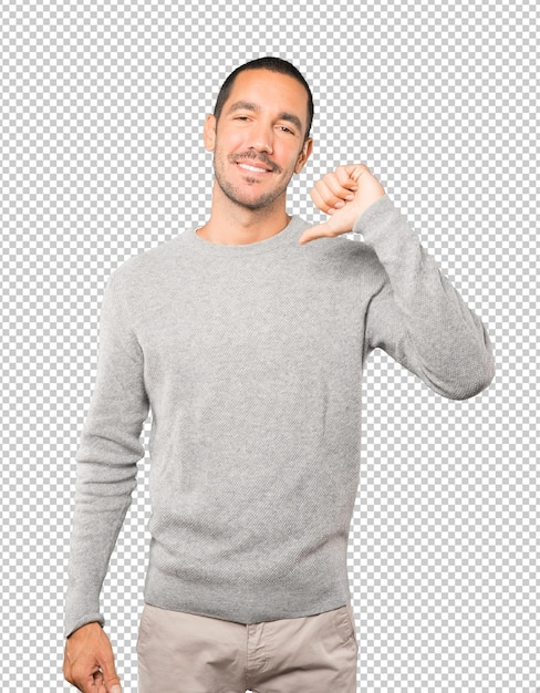 Proud young man making a haughty gesture Premium Psd