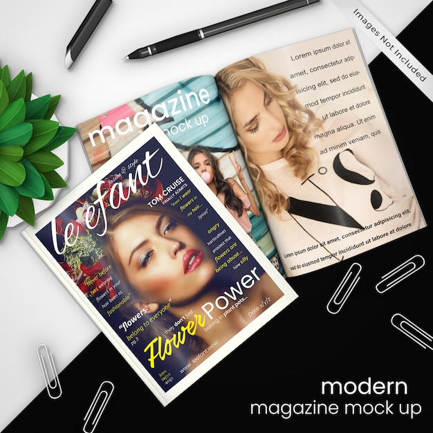 モダンな黒と白のデザインにペーパークリップ、ペン、および緑の植物、psdモックアップで2つの雑誌の創造的なモダンな雑誌のモックアップテンプレート Premium Psd