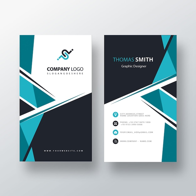 Psd abstract blue vertical business card Free Psd