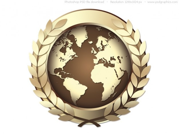 Psd золотые награды мира иконы, золотая медаль Бесплатные Psd