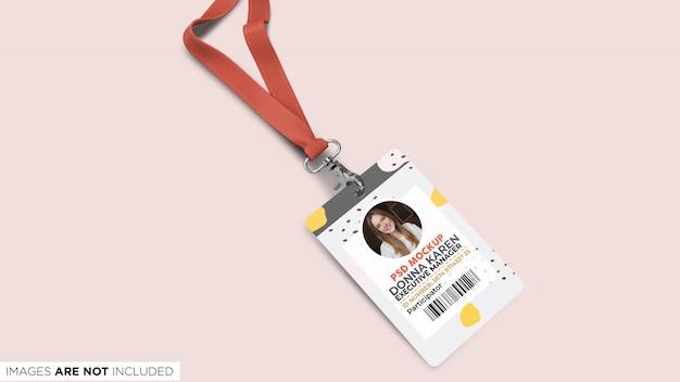 ストラップトップビューpsdモックアップと企業idカード Premium Psd